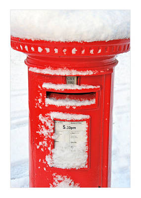 Snowy Pillar Box Poster by Mal Bray