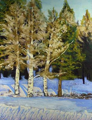 Poster featuring the painting Snowy Sunset Aspen by Drusilla Montemayor