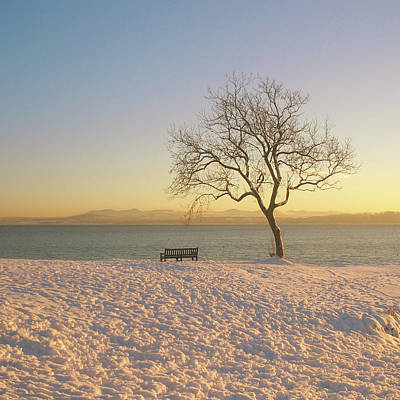 Snowy Winter Sunset Over The River Forth Poster