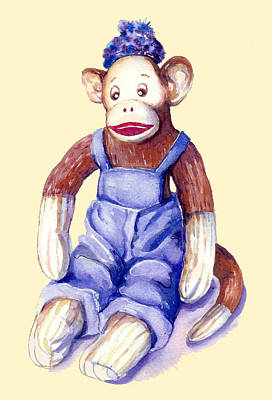Sock Monkey Poster by Peggy Wilson
