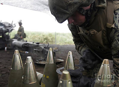 Soldier Tightens Fuses To Artillery Poster