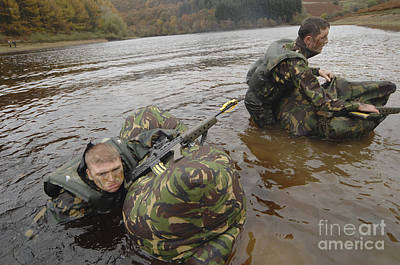 Soldiers Participate In A River Poster by Andrew Chittock