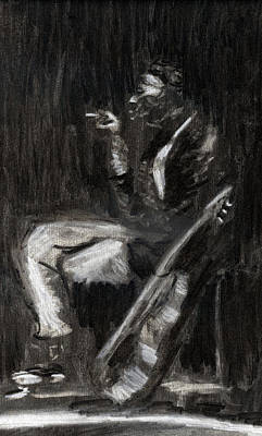 Poster featuring the drawing Son House In Charcoal by Denny Morreale