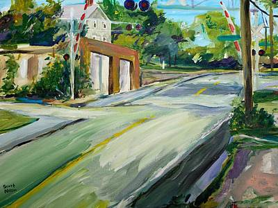 South Main Street Train Crossing Poster by Scott Nelson