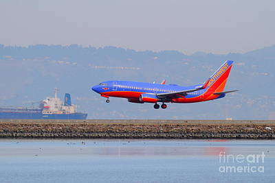 Southwest Airlines Jet Airplane At San Francisco International Airport Sfo . 7d12176 Poster by Wingsdomain Art and Photography