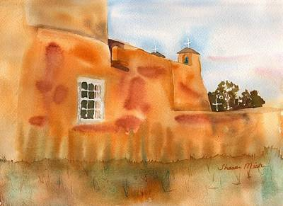 Poster featuring the painting Southwest Walled Monastery by Sharon Mick