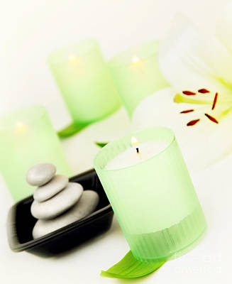 Spa Candle And Stones Poster by Anna Om
