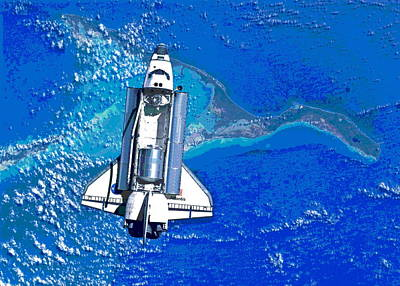 Space Shuttle Atlantis Docking Poster by Padre Art