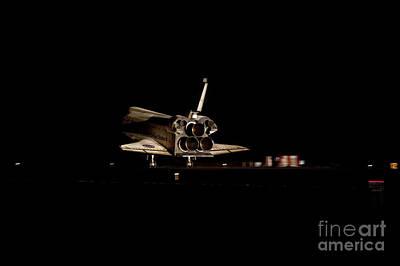 Space Shuttle Atlantis Landing At Night Poster
