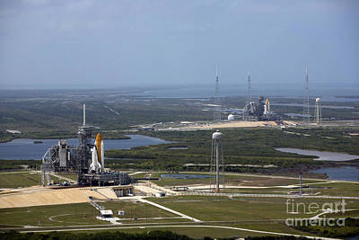 Space Shuttle Atlantis On Launch Pad Poster