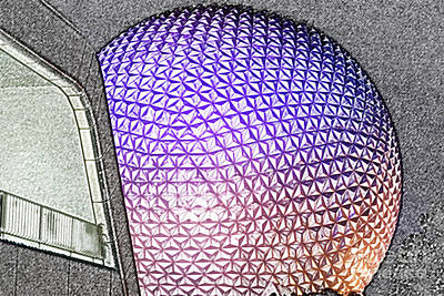 Spaceship Earth And Futuristic Walkway Epcot Walt Disney World Prints Colored Pencil Poster
