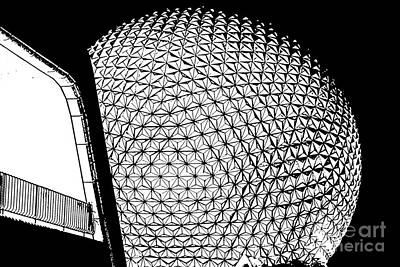 Spaceship Earth And Futuristic Walkway Epcot Walt Disney World Prints Stamp Poster by Shawn O'Brien