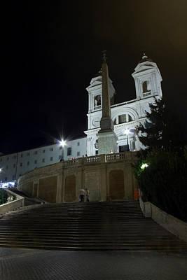 Spanish Steps At Night Poster