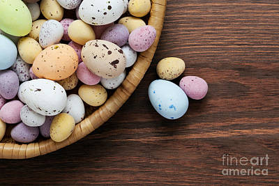 Speckled Chocolate Easter Eggs In A Basket  Poster by Richard Thomas