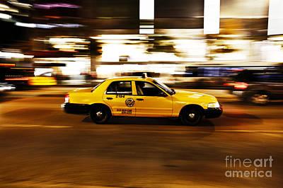 Speeding Yellow Taxi Cab Poster