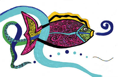 Spiral Fish Poster by Christine Perry