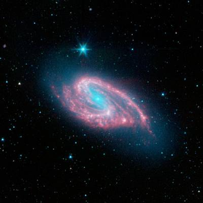 Spiral Galaxy M66, Infrared Image Poster
