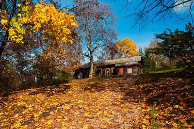 Splendor Of Autumn. Wooden House Poster by Jenny Rainbow