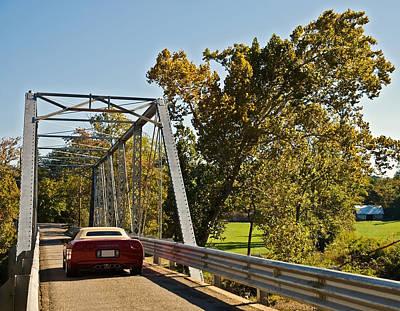 Poster featuring the photograph Sports Car On A Bridge by Susan Leggett