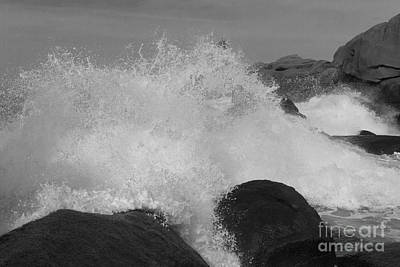 Spray Of Waves Black And White Poster by Heiko Koehrer-Wagner