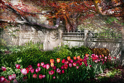 Spring - Gate - My Spring Garden  Poster by Mike Savad