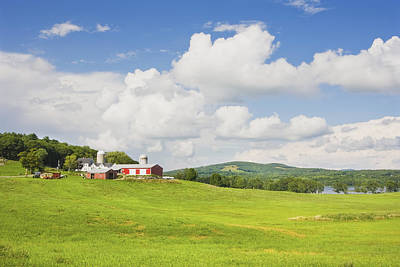 Spring Farm And Hay Field With Blue Sky Maine Poster