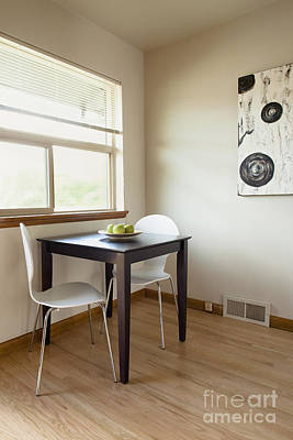Square Table In A Sparse Room Poster