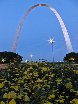 Poster featuring the photograph St Louis Arch With Twinkles by Nancy De Flon