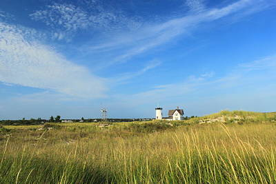 Stage Harbor Lighthouse Beach Grasses Cape Cod Chatham Poster