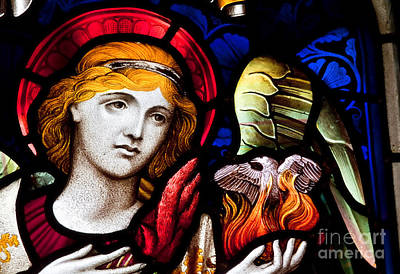 Poster featuring the photograph Stained Glass Angel by Verena Matthew