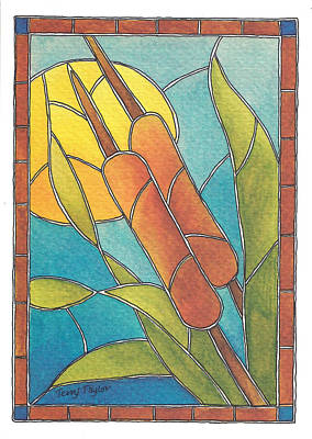 Stained Glass Cattails Poster