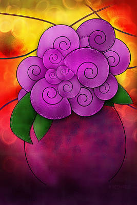 Stained Glass Florals Poster