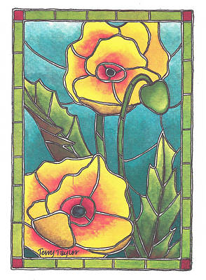 Stained Glass Poppies Poster