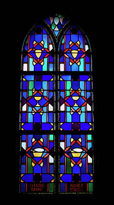 Stained Glass Window Blue Poster by Thomas Woolworth