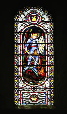 Stained Glass Window Of St George Poster by Paul Cowan