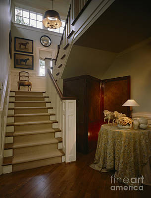 Stairs In Elegant Home Poster by Robert Pisano