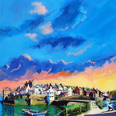 Staithes At Sundown Poster by Neil McBride