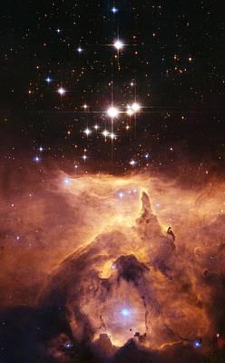 Star Cluster Pismis 24 Above Ngc 6357 Poster by J. Maiz Apellaniz, Iaanasaesastsci