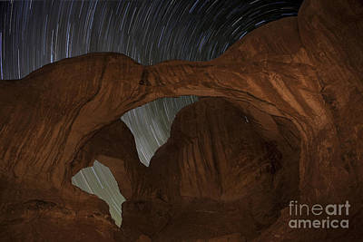 Star Trails At Double Arch Poster by Keith Kapple