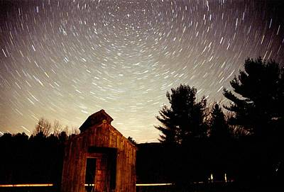 Poster featuring the photograph Star Trails Over Sugar Shack by Rick Frost