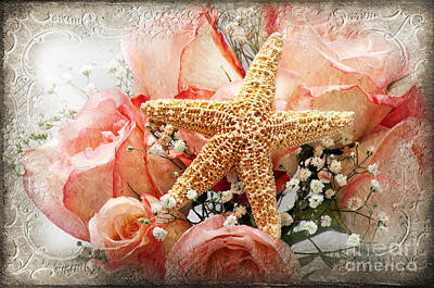 Starfish And Pink Roses Poster by Andee Design