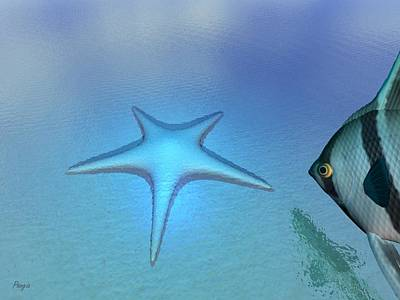 Poster featuring the digital art Starfish by John Pangia