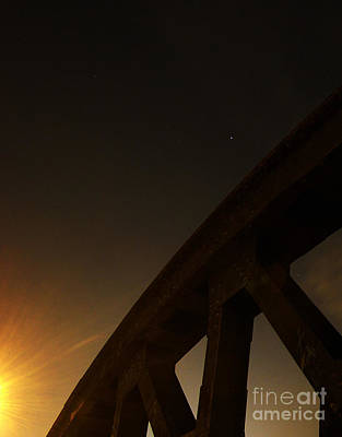 Poster featuring the photograph Starry Night On Sunset Bridge by Andy Prendy
