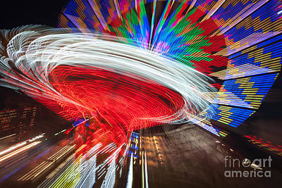 State Fair Rides At Night Iv Poster by Clarence Holmes