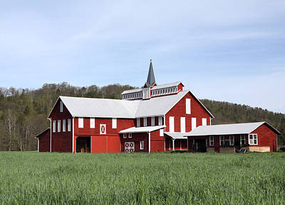 Stately Red Barn With Elongated Clerestory Cupola Poster