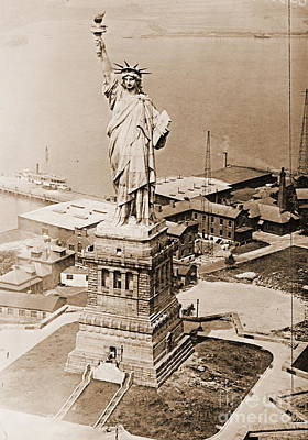 Statue Of Liberty Aerial View 1920 Sepia Poster