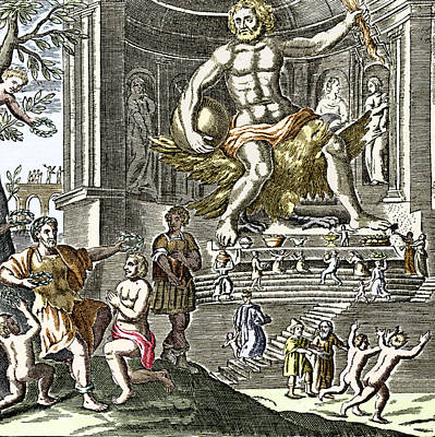 Statue Of Zeus In Ancient Olympia Poster by Sheila Terry