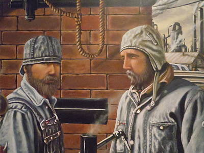 Poster featuring the painting Steam Fitters At The Mill by James Guentner