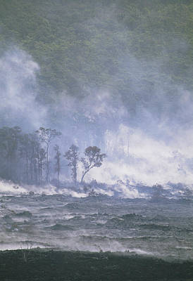 Steam From Kilauea Volcano Lava Flow Poster by G. Brad Lewis