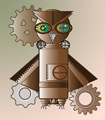 Steam Punk Robot Owl Poster by Barbara Giordano